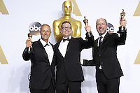 LOS ANGELES - FEB 28:  Ben Osmo, Greg Rudloff, Chris Jenkins at the 88th Annual Academy Awards - Press Room at the Dolby Theater on February 28, 2016 in Los Angeles, CA