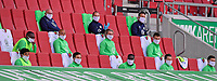 16 05 2020, FC Augsburg VfL Wolfsburg 16 05 2020, Football 1 Bundesliga 2019 2020, 26 matchday, FC Augsburg VfL Wolfsburg, in the WWK Arena Augsburg, the substitute players from VfL Wolfsburg wearing a face mask and the prescribed minimum distance of 1.5 metres on their marked seats Photo Bernd Feil M i S Pool <br /> Panchina Wolfsburg