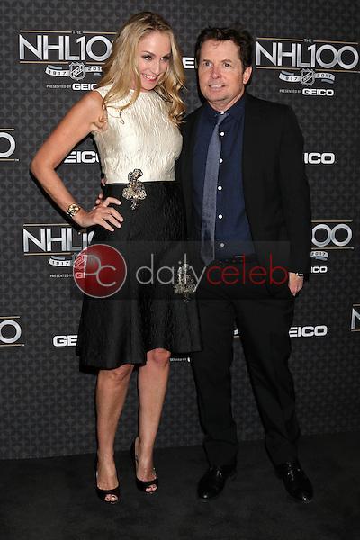 Tracy Pollan, Michael J. Fox<br /> at the The NHL100 Gala, Microsoft Theater, Los Angeles, CA 01-27-17<br /> David Edwards/DailyCeleb.com 818-249-4998