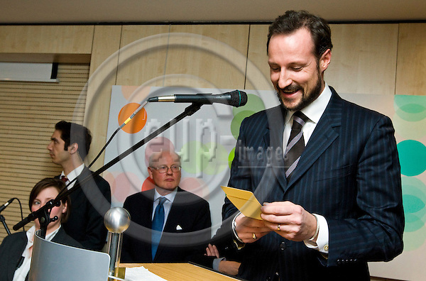 BRUSSELS - BELGIUM - 22 JANUARY 2009 -- Inauguration ceremony of the Norway House with HRH Crown Prince Haakon of Norway. -- HRH Crown Prince Haakon during his speach. -- PHOTO: Juha ROININEN / EUP-IMAGES.NORWAY OUT!!.