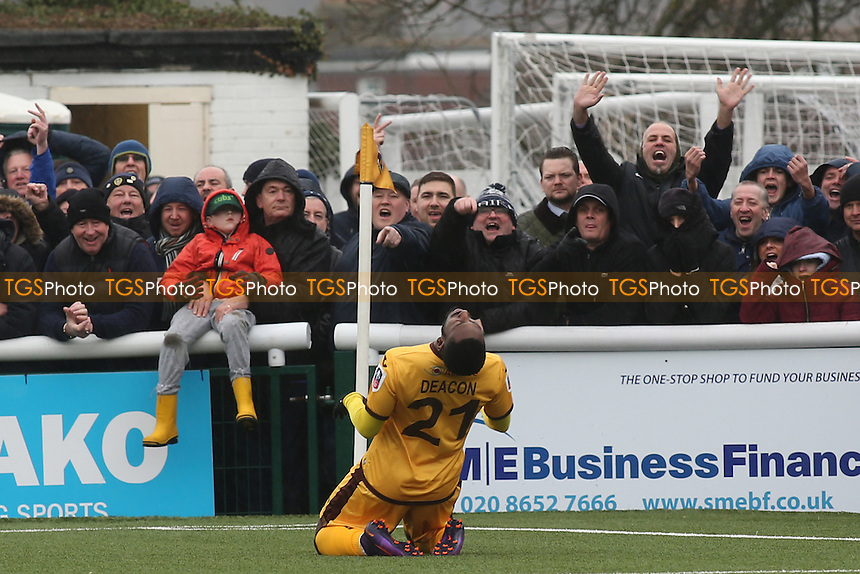 Sutton's Roarie Deacon just realises that his early goal has been ruled out for offside much to the amusement of the onlooking Leeds fans during Sutton United vs Leeds United, Emirates FA Cup Football at the Borough Sports Ground on 29th January 2017