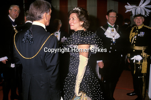The Lady Mayoress Carolyn Graham at a Banquet at the Guildhall, City of London UK 1990