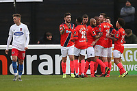 Remy Clerima of Maidenhead scores the first goal for his team and celebrates with his team mates during Dagenham & Redbridge vs Maidenhead United, Vanarama National League Football at the Chigwell Construction Stadium on 7th December 2019
