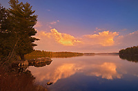 Evening reflection at Smoke Lake, Algonquin Provincial Park, Ontario, Canada