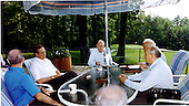 Camp David, Maryland - June 2, 1990 -- United States President George H.W. Bush meets with Union of Soviet Socialist Republics (USSR) President Mikhail Gorbachev and thei key foreign policy advisors at Aspen Lodge, Camp David, Maryland on June 2, 1990.  From left: United States Secretary of State James A. Baker III,  President Bush, United States National Security Advisor Brent Scowcroft, Union of Soviet Socialist Republics Foreign Minister Eduard Shevardnaze, and President Gorbachev..Credit: White House via CNP