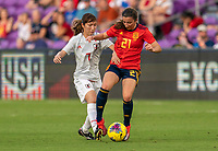 ORLANDO, FL - MARCH 05: Emi Nakajima #7 of Japan fights for the ball with Sheila Garcia #21 of Spain during a game between Spain and Japan at Exploria Stadium on March 05, 2020 in Orlando, Florida.