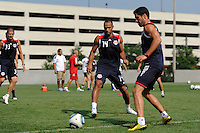 Thierry Henry (14) and Juan Pablo Angel (9) during a New York Red Bulls practice on the campus of Montclair State University in Upper Montclair, NJ, on July 16, 2010.