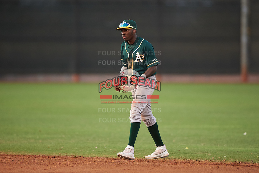 AZL Athletics Green second baseman Givaine Bisilia (1) during an Arizona League game against the AZL Reds on July 21, 2019 at the Cincinnati Reds Spring Training Complex in Goodyear, Arizona. The AZL Reds defeated the AZL Athletics Green 8-6. (Zachary Lucy/Four Seam Images)