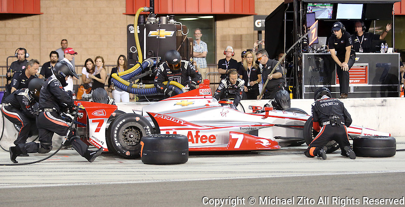 10/19/13 Fontana, CA:  Sebastien Bourdais  in the pits during the MAVTV 500 held at the Auto Club Speedway.