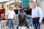 Denis Tagney and Tommy Griffin standing by the statue of The Wild Colonial Boy in Castlemaine on Tuesday.