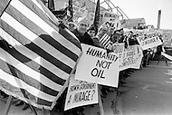 01 Mar 1970 --- American men in an anti French demonstration in New York against the sale of 100 Mirage jets to Libya from France. After the election of French President George Pompidou foreign policies were changed and 100 Mirage fighter jets were sold to Colonel Gadaffi's new regime in Libya. --- Image by © JP Laffont