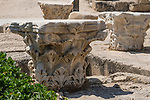 Carved marble capitals in the ruins of Caesarea Maritima at Caesarea National Park in Israel.  The city was built as a port on the Mediterranean Sea by Herod the Great between 22 and 15 B.C.