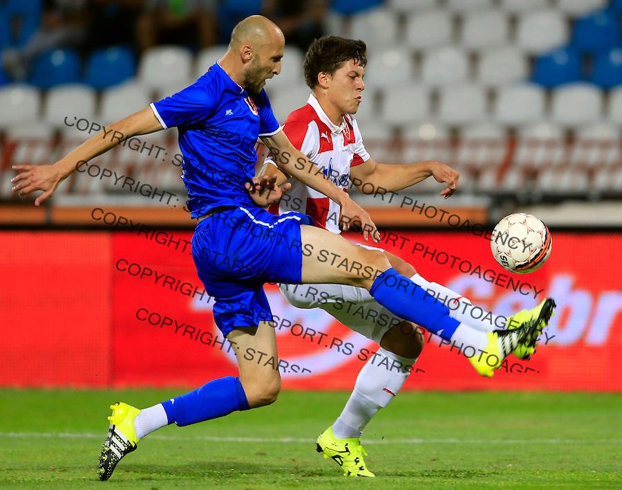 Fudbal Super League season 2015-2016<br /> Crvena Zvezda v Radnicki Nis<br /> Luka Jovic (R) and Rados Bulatovic<br /> Gornji Milanovac, 31.07.2015.<br /> foto: Srdjan Stevanovic/Starsportphoto&copy;