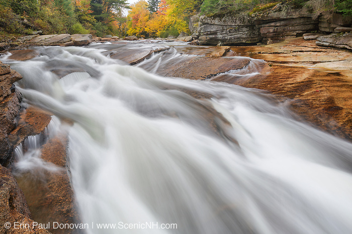 Lower Ammonoosuc Falls in Carroll, New Hampshire USA during autumn months. These falls are located along the Ammonoosuc River.