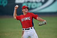 Potomac Nationals Jack Sundberg (14) throws the ball in during a Carolina League game against the Myrtle Beach Pelicans on August 14, 2019 at Northwest Federal Field at Pfitzner Stadium in Woodbridge, Virginia.  Potomac defeated Myrtle Beach 7-0.  (Mike Janes/Four Seam Images)