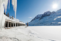 Italy, South Tyrol, Alto Adige - Trentino,  gallery at Lago Fedaia, reservoir at Fedaia pass road at the border to Veneto | Italien, Suedtirol: Galerie am Fedaiasee, einem Stausee auf der Passhoehe des Fedaiapasses, an der Grenze zu Venetien