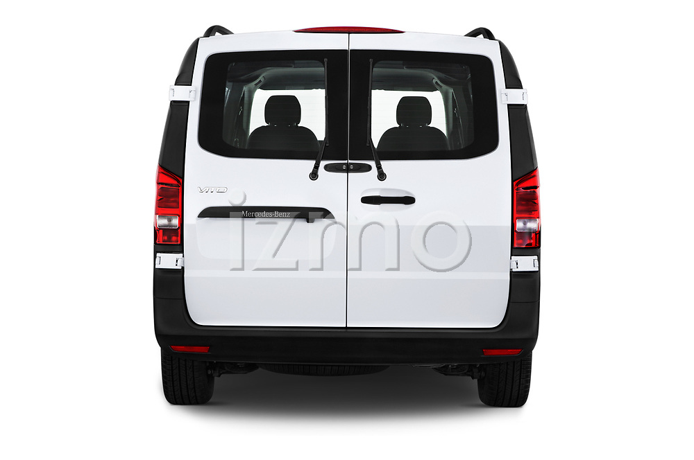 Straight rear view of a 2019 Mercedes Benz Metris Base 5 Door Cargo Van stock images