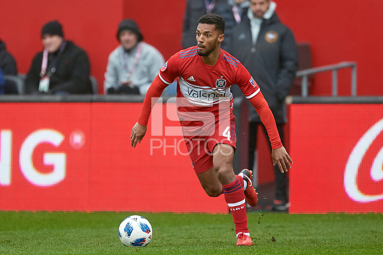 Bridgeview, IL - Saturday April 14, 2018: Johan Kappelhof during a regular season Major League Soccer (MLS) match between the Chicago Fire and the LA Galaxy at Toyota Park.  The LA Galaxy defeated the Chicago Fire by the score of 1-0.