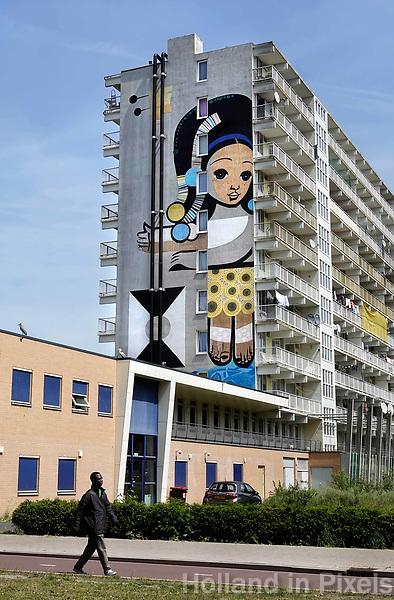 Nederland Amsterdam 2019 . De Bijlmer. Muurschildering van de kunstenaar Speto op een flat in de H-Buurt. Foto Berlinda van Dam / Hollandse Hoogt