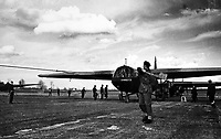 BNPS.co.uk (01202 558833)<br /> NARA/BNPS<br /> <br /> A British Horsa glider at an East Anglia airfield early on 24 March. <br /> <br /> Remarkable rarely seen photos of heroic Allied soldiers fighting their way across Europe before crossing the River Rhine 75 years ago feature in a new book.<br /> <br /> They are published in Images of War, Montgomery's Rhine Crossing, which tells the story of the legendary offensive, nicknamed Operation Plunder, in March 1945.<br /> <br /> On the night of March 23, Field Marshal Bernard Montgomery's 21st Army Group launched a massive artillery, amphibious and airborne assault to breach the historic defensive water barrier protecting northern Germany.<br /> <br /> At the same time, the Americans, with the support of the British 6th Airborne Division, set in motion Operation Varsity - involving 16,000 paratroopers - on the east bank of the Rhine. They were dropped here to seize bridges to prevent German reinforcements from contesting the bridgeheads.<br /> <br /> Fierce fighting ensued, with much bloodshed on both sides as the Allies met determined resistance from machine gun nests. But the daring operation proved successful, helping to considerably shorten the war - the Nazis surrendered just six weeks later.