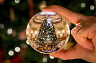 December 11, 2017; Main Building Christmas tree refracted in a crystal ball. 9 of 12 (Photo by Matt Cashore/University of Notre Dame)