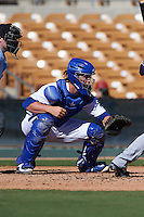 Glendale Desert Dogs catcher Kyle Farmer (7) during an Arizona Fall League game against the Surprise Saguaros on October 24, 2015 at Camelback Ranch in Glendale, Arizona.  Surprise defeated Glendale 18-3.  (Mike Janes/Four Seam Images)
