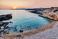 Sunset at Spilia beach of Koufonissi island in Cyclades, Greece