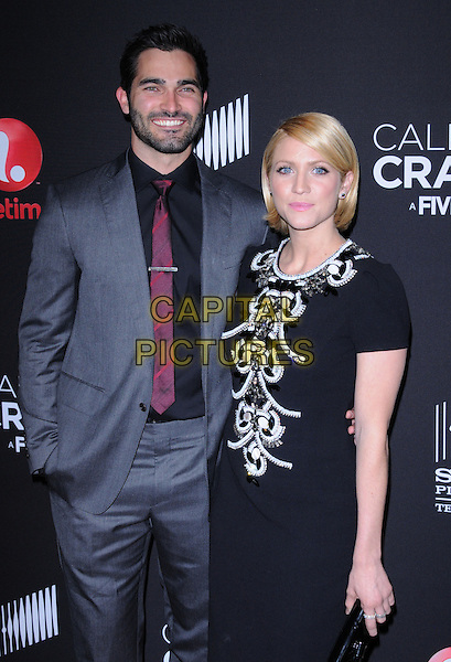 """Tyler Hoechlin & Brittany Snow.World Premiere Of The Lifetime Original Movie Event """"Call Me Crazy: A Five Film"""" Held At The Silver Screen Theater Pacific Design Center, Los Angeles, California, USA..April 16th, 2013   .half length dress clutch bag black white beads beaded red tie grey gray shirt stubble facial hair couple                                                         .CAP/DVS.©DVS/Capital Pictures"""