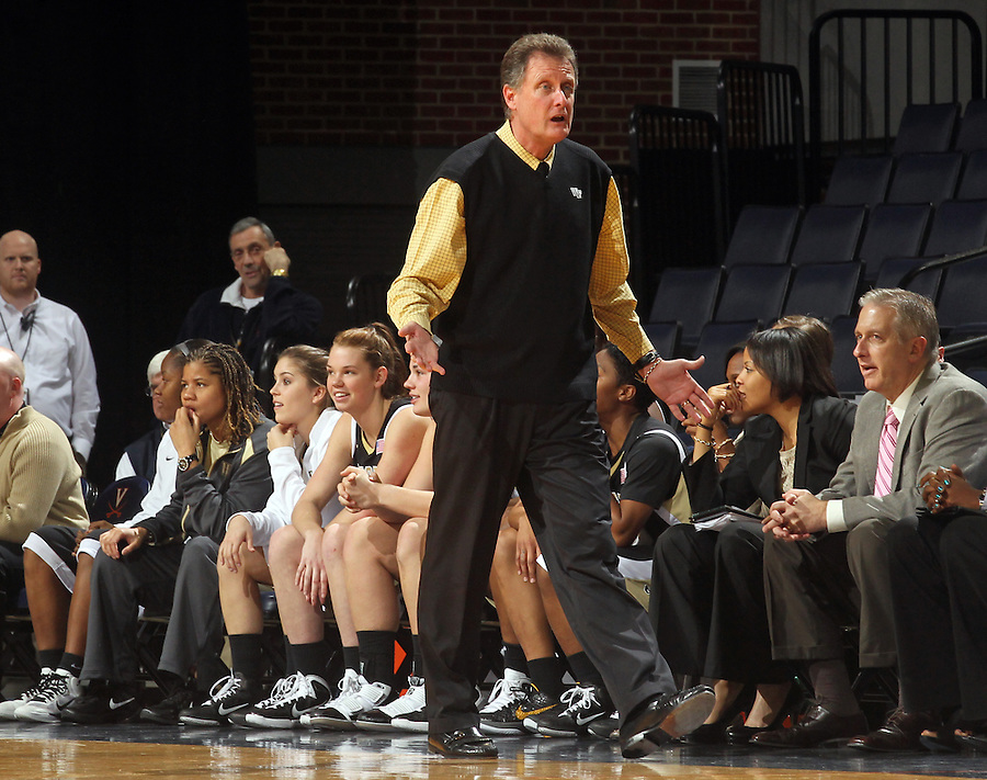 Feb. 3, 2011; Charlottesville, VA, USA; Wake Forest Demon Deacons head coach Mike Peterson reacts to a call during the game against the Virginia Cavaliers at the John Paul Jones Arena. Virginia won 73-46. Mandatory Credit: Andrew Shurtleff