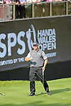ISPS Handa Wales Open Golf final day at the Celtic Manor Resort in Newport, UK. : Lee Westwood of England smiles as he walks off the 18th green after finishing his round.