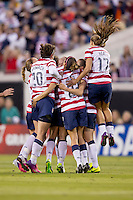 February 9, 2013:   The USA Women's National Team celebrates after a first half goal during action between the USA Women's National Team and Scotland at EverBank Field in Jacksonville, Florida.  USA defeated Scotland 4-1............