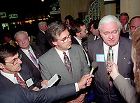 Montreal (qc) CANADA - file Photo - 1992 - <br /> <br /> Journalist interview of <br /> - Yvon Picotte (M),<br /> Ralph Mercier, UMQ President and Mayor of Charlesbourg (R) at 'Union des Municipalites du Quebec convention in April