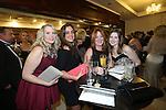 The Parc Hotel 130 years anniversary dinner.<br /> L-R: Charlotte Jones, Jessica Dormey, Lisa Rees &amp; Georgina Phillips.<br /> 23.10.14<br /> &copy;Steve Pope-FOTOWALES