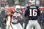 Arizona Cardinals linebacker Chike Okeafor fights through the heavy snowfall while eyeing up New England Patriots quarterback Tim Cassel during a game in Foxboro on December 21st 2008.