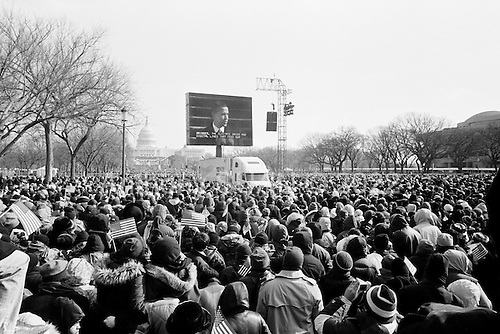 Washington DC<br /> District of Columbia<br /> USA<br /> January 20, 2009<br /> <br /> An estimated 2 million people from across the United States of America fill the capital mall under under sub-zero degree celsius weather -to attend the inauguration of the first black president of the country, Democrat Barack Obama...The crowd watches closely as the new President Barack Obama delivers his inauguration speech to the world moments after being sworn in and becoming the 44th President of the United States of America.