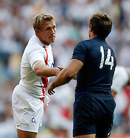 Photo: Richard Lane/Richard Lane Photography..England v France. Rugby World Cup 2007 Warm-up Match. 11/08/2007. .England's Jonny Wilkinson shakes hands with France's Vincent Clerc.