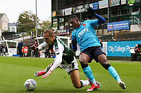 Plymouth Argyle's Oscar Threlkeld competing with Fleetwood Town's Amari'i Bell<br /> <br /> Photographer Andrew Kearns/CameraSport<br /> <br /> The EFL Sky Bet League One - Plymouth Argyle v Fleetwood Town - Saturday 7th October 2017 - Home Park - Plymouth<br /> <br /> World Copyright &copy; 2017 CameraSport. All rights reserved. 43 Linden Ave. Countesthorpe. Leicester. England. LE8 5PG - Tel: +44 (0) 116 277 4147 - admin@camerasport.com - www.camerasport.com