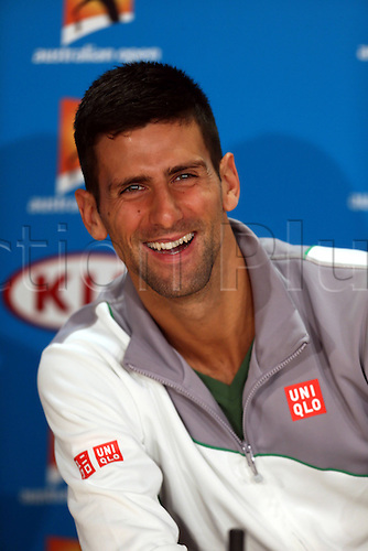 12.01.2014. Sydney, Australia. Australian Open Tennis Championships. World Tour, Grand Slam, Australian Open  Novak Djokovic of Serbia attends a press conference