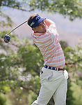 Chase Wright hits a tee shot during the Barracuda Championship PGA golf tournament at Montrêux Golf and Country Club in Reno, Nevada on Thursday, July 25, 2019.