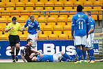 St Johnstone v Inverness Caledonian Thistle....22.02.14    SPFL<br /> Frazer Wright lies injured<br /> Picture by Graeme Hart.<br /> Copyright Perthshire Picture Agency<br /> Tel: 01738 623350  Mobile: 07990 594431