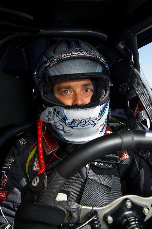 Feb 3, 2015; Chandler, AZ, USA; NHRA pro stock driver Jonathan Gray during testing at Wild Horse Motorsports Park. Mandatory Credit: Mark J. Rebilas-USA TODAY Sports