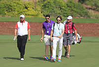 Shane Lowry (IRL), Robbie Cannon, Neil Manchip and his caddy Dermot Byrne walking down the 10th during the preview for the DP World Tour Championship at the Earth course,  Jumeirah Golf Estates in Dubai, UAE,  18/11/2015.<br /> Picture: Golffile | Thos Caffrey<br /> <br /> All photo usage must carry mandatory copyright credit (&copy; Golffile | Thos Caffrey)