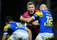 Hull FC 's Chris Green is tackled by Leeds Rhinos' Carl Ablett and Joel Moon<br /> <br /> Photographer Alex Dodd/CameraSport<br /> <br /> Betfred Super League Round 5 - Leeds Rhinos v Hull FC - Thursday 8th March 2018 - Headingley Carnegie Stadium - Leeds<br /> <br /> World Copyright &copy; 2018 CameraSport. All rights reserved. 43 Linden Ave. Countesthorpe. Leicester. England. LE8 5PG - Tel: +44 (0) 116 277 4147 - admin@camerasport.com - www.camerasport.com