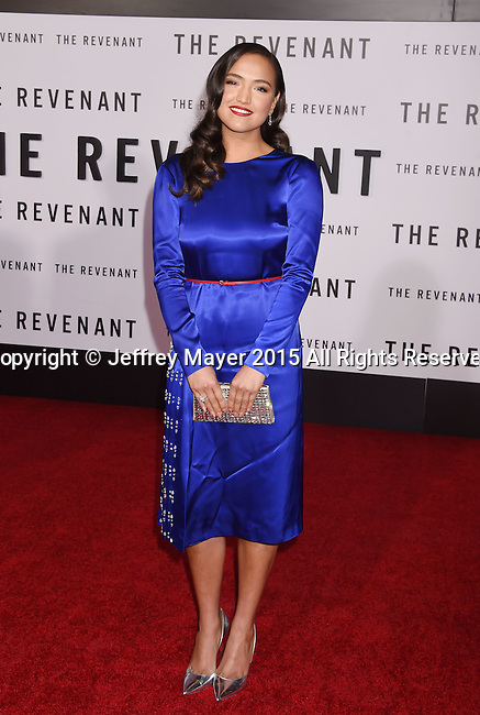 HOLLYWOOD, CA - DECEMBER 16: Actress Grace Dove arrives at the Premiere of 20th Century Fox And Regency Enterprises' 'The Revenant' at TCL Chinese Theatre on December 16, 2015 in Hollywood, California.