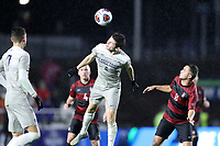 CARY, NC - DECEMBER 13: Sean Zawadzki #6 of Georgetown University heads the ball during a game between Stanford and Georgetown at Sahlen's Stadium at WakeMed Soccer Park on December 13, 2019 in Cary, North Carolina.