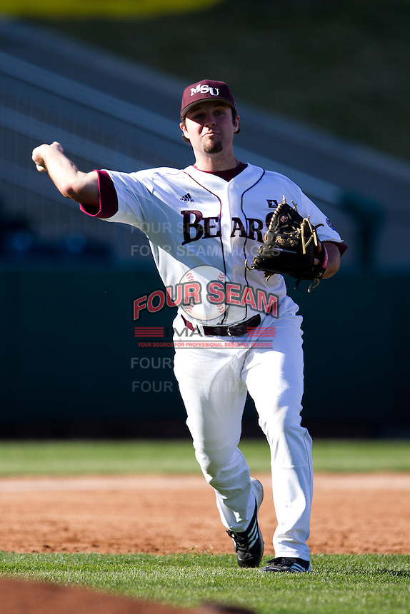 Brent Seifert (4) of the Missouri State Bears throws to first base during a game against the Southern Illinois University- Edwardsville Cougars at Hammons Field on March 9, 2012 in Springfield, Missouri. (David Welker / Four Seam Images)