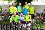 Front l-r Jim Donovan, Nigel Hennessy and Irene Riordan. Back l-r Kieran Calnan, Jim O'Connor, Elish Cronin, Shane Power and Brendan Fitzgerald at the Kerry Emergency Services 75km Cycle in aid of Alzeimhers and South West Counselling starting at the Tralee Town Park on Saturday