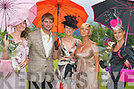 LADIES DAY: The winners of the Best Dressed Lady competition at Killarney Races Ladies Day last Thursday pictured with Keith Duffy. L-r: Carol Kennelly (Tralee) 3rd, Marilyn Murphy (Killarney) 1st, Lisa Duffy and Mamie Hayes (Limerick) 2nd..