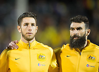 Australia Bradley Jones and  Mile Jedinak before the International Friendly match between Colombia and Australia at Craven Cottage, London, England on 27 March 2018. Photo by Andrew Aleksiejczuk / PRiME Media Images.