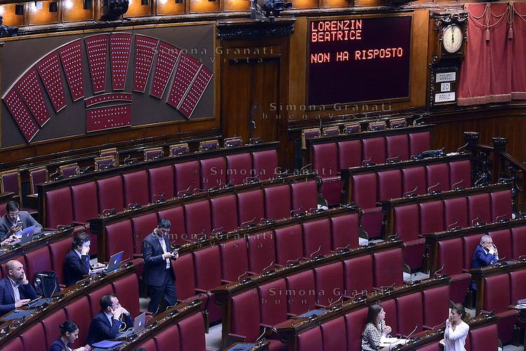 Roma, 30 Aprile 2015<br /> La Ministra Beatrice Lorenzin non ha risposto.<br /> Votata le seconda fiducia alla Legge elettorale